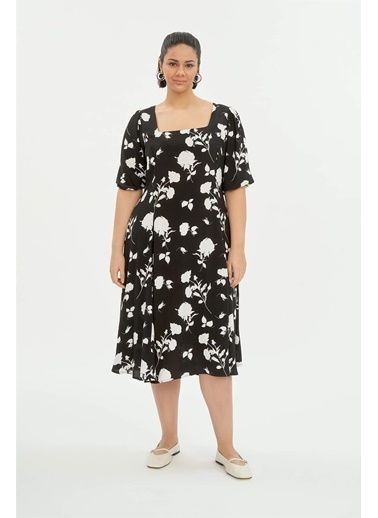 Luokk Becky Kare Yaka Balon Kol Midi Elbise Desenli Renkli